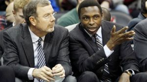 P.J. Carlesimo, here with ex-Nets coach Avery Johnson, would be the logical choice as his replacement, but not the most popular. Photo: AP Photo/Mel Evans
