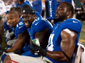 From left to right Osi Umenyiora, JPP, and Justin Tuck will need to pressure Matt Ryan to prevent the ball from sailing downfield on Sunday. Photo: nydailynews.com