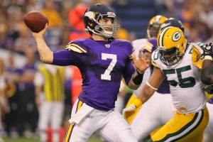 #7 Vikings QB Christian Ponder has had a tough go of it at Lambeau Field and Saturday should be no exception. Photo: Adam Bettcher /Getty Images
