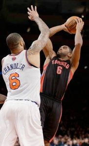 #6 Alan Anderson goes up  for a shot over Tyson Chandler. He scored 26 points vs the Knicks last week. Photo: pba-online.net