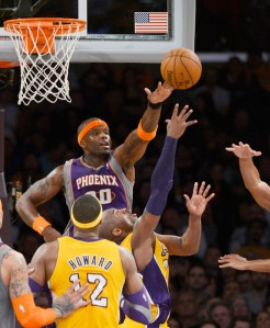 #20 Jermaine O'Neal goes up to block Kobe Bryant in an earlier game last November. He could become fantasy relevant again.. Photo: Kevork Djansezian/Getty Images North America
