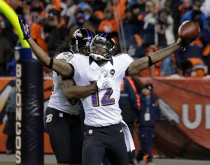 #12 Jacoby Jones, scoring here vs the Broncos in the AFC Div. Playoffs, has just a 1 YPG more than LaMichael James of the 49ers. Photo: sfexaminer.com