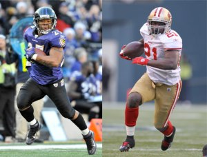 #27 Ray Rice and #21 Frank Gore had fairly even numbers going into this year's post-season. Photo: mademen.com