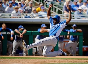 #6 Lorenzo Cain brings a combination of speed & power to owners. Photo: Kevork Djansezian/Getty Images North America