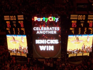 The Madison Square Garden Bid Board showing the final score in Game 1 of the 2013 playoffs. Phoro: fantasyfurnace.com