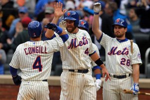 #4 CF Colin Cowgill is one of two Mets players with a grand slam on opening day in their 51 year history. Photo: mlb.si.com