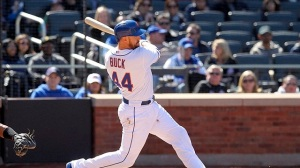 No other player in Mets history has driven in as many runs through the first 7 games (12) than #44 John Buck. Photo Brad Penner-USA TODAY Sports