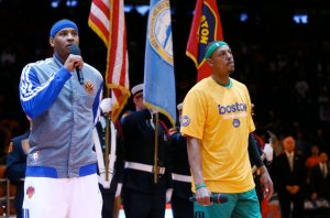 The body language between Carmelo Anthony & Paul Pierce says it all... Photo: fantasyfurnace.com