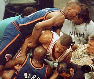 The Heat's P.J. Brown after slamming Knick Charlie Ward to the floor during the 1997 playoffs.