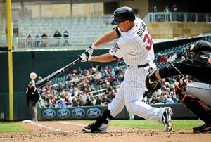 #31 LF Oswaldo Arcia connects on his 1st major league home run on April 23, 2013 vs Miami. Photo: Pioneer Press: Ben Garvin)