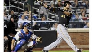 #46 Garrette Jones tees off vs the Mets last week. The 1B, OF had 27 HRs last season. Photo: Bill Kostroun/Associated Press
