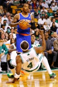 #8 J.R. Smith shortly after elbowing #4 Jason Terry during game 3 on April 26th, 2013. Photo: Gettyimages
