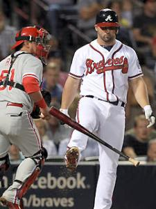 #26 2b Dan Uggla of the Braves kicks his bat in disgust after one of his league-leading strikeouts. Photo AP