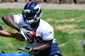 #38 new Broncos RB Montee Ball receives a hand-off at minicamp. With Willis McGahee being released, Ball has an excellent opportunity to display his talents this season. Ron Chenoy-USA TODAY Spor: