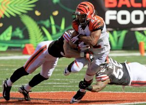 #42 BenJarvis Green-Ellis is tackled in a game vs the Browns on 9/16/12. AP Photo/David Kohl