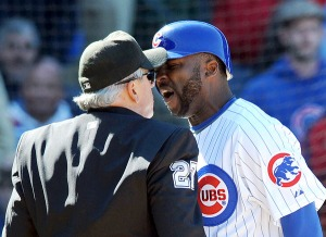 Milton Bradley shown here arguing with umpire Larry Vanover, was later ejected from the game. Photo by Richard A. Chapman/Sun-Times)