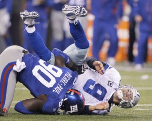 #90 Jason Pierre Paul who will be coming off the PUP list soon after recovering from back surgery, played hurt last season. Photo: US PTRESSWIRE