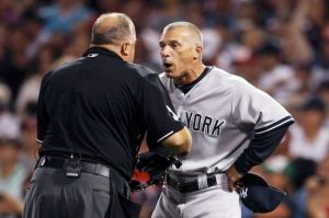 Yankeees manager Joe Girardi gives umpire Brian O'Nora a piece of his mind in a display of temper we have not been accustomed to. Photo: Rueters