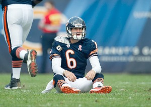 #6 Jay Cutler, with his 51-42 career record has underachieved for most of his career. Now in his last year of his contract he'll need to do much better. John Biever/SI: