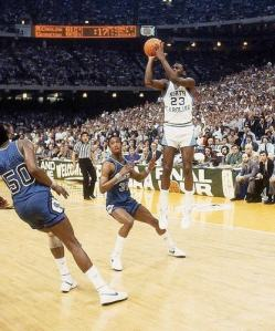 Here Michael Jordan takes and makes the game winning shot in the NCAA Finals vs Georgetown.