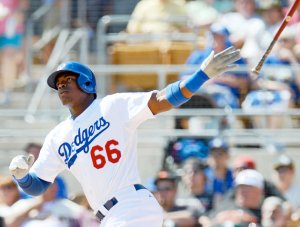 #66 Yasiel Puig rips one of his seven homers this past June. #Photo: USATodaySports