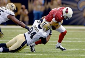 #94 Saints Cameron Jordan sacks Cardinals QB Carson Palmer in the 1st half of last week's game.
