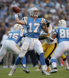 #17 Philip Rivers will need his offensive line to keep the Titans, and their 7 sacks on the young season, from disrupting his game. John R. McCutchen/San Diego Union-Tribune via Getty Images: