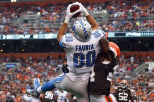 #)) TE Joseph Fauria catching one of his three touchdowns on Sunday Oct. 13, 2013 in a win over the Browns. Photo: Matt Sullivan