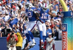 #10 WR Robert Woods celebrates his touchdown in Orchard Park last week vs the Ravens Photo: Tom Szczerbowski/Getty Images