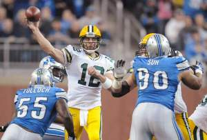 #12 Aaron Rodgers looks to make it 9-0 vs the rival Lions on Sunday Photo: Corey Wilson/Press-Gazette