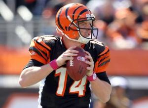 #14 QB Andy Dalton, who has a 99.0 QB rating on the season, threw a career-high five touchdown passes on 19 or 30 for 325 yards in Sunday's win over the Jets. Photo: Andy Lyons Getty Images