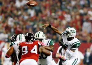 #7 Rookie Geno Smith unleashes one of his 3 touchdown passes  (no INTs) vs the Falcons last week. Photo:Kevin C. Cox/Getty Images