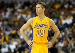 #10 PG Steve Nash could miss close to 25% of the season following a broken leg last season and a drop Stephen Dunn/Getty Images North America his assists. Photo: