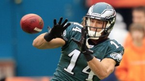 #14 WR Riley Cooper has become a favorite target of QB Nick Foles. Photo: Getty Images