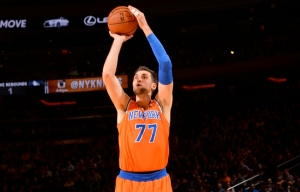 #77 Andrea Bargnani goes up for one of his 82 3-point attempts this seaon making just 24 of them for an anemic 29.6 % average. Photo: