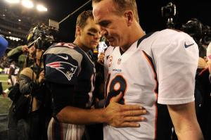 Tom Brady consoles Peyton Manning after the Broncos loss in Foxborough on Oct. t, 2012. A loss this Sunday could decide Manning's NFL future. Photo: Getty Images