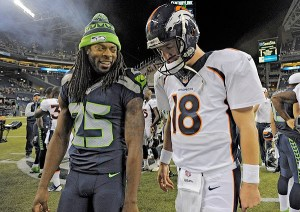 "#25 Seahawk Richard Sherman and his ""Legion of boom"" will do their best to keep #18 Peyton Manning and his top receivers  out of the endzone"