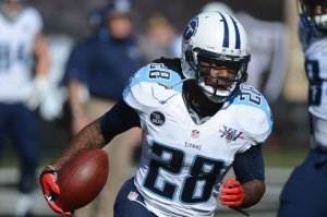 #28 Ex-Titan RB Chris Johnson who can bust one for major yardage at any time, will bring his talents to the N.Y. Jets this season. Kyle Terada-USA TODAY Sports