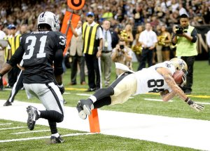 #84 WR Kenny Stills dives in for the score vs the Raiders last season. The Furnace believes he will be a favorite of Drew Brees. Photo: neworleanssaints.com