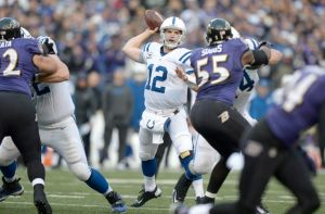 #12 Andrew Luck throwing a pass vs the Ravens Jan 6, 2013 in the AFC Wild Card Playoff game will be will be the difference-. maker this Sunday