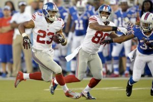 #23 RB Rashad Jennings & #82 TE Larry Donnell have been a boon on offense for the Giants this season and will make a difference in Week 5's game vs the Falcons says THe Furnace. Photo: David Richard/Associated Press