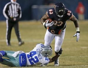 It could be time to sever your ties with #83 Bears TE Martellus Bennett who hasn't seen the endzone in two months. Jonathan Daniel/Getty photo
