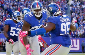 #90 Jason Pierre-Paul and #95 Johnathan Hankings will bring their 16.5 sacks to St. Louis this week looking to add to their totals. Photo: Getty Images